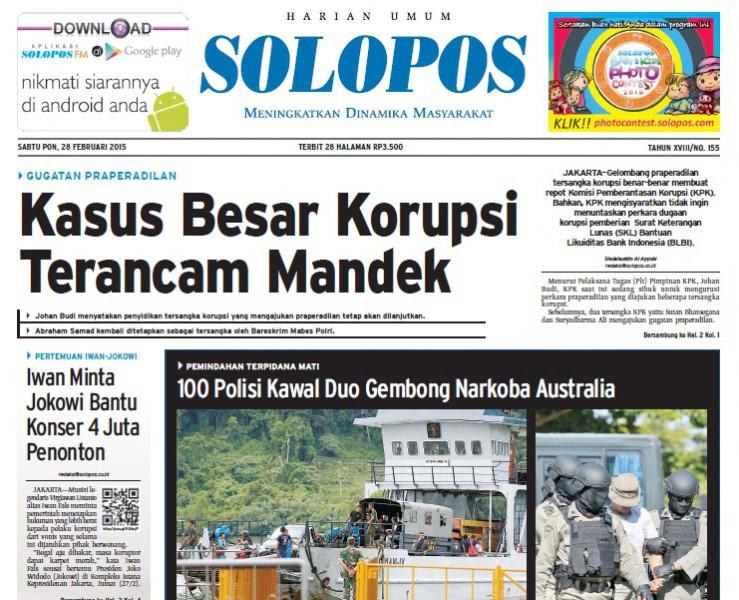 Halaman Depan Harian Umum Solopos edisi Sabtu, 28 Februari 2015