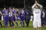 Pemain Fiorentina merayakan kemenangan atas Tottenham Hotspur. JIBI/Reuters/Max Rossi