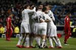 Pemain Madrid merayakan gol Jese Rodriguez ke gawang Sevilla. JIBI/Rtr/Susana Vera