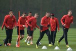 Para pemain Manchester United sedang berlatih di markas mereka. Ist/Dailymail.co.uk