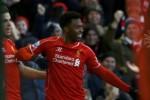 Pemain Liverpool Daniel Sturridge merayakan golnya ke gawang West Ham United. JIBI/Rtr/Phill Noble