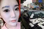 Wanita dan mobil yang ditempeli pembalut (Shanghaiist.com)