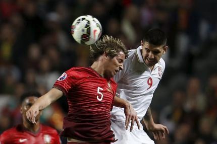 Laga Portugal vs Serbia yang dimenangkan oleh Portugal dengan skor 2-1. JIBI/Reuters