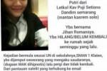 Selebaran mengenai putri Kasrem Surakarta, Jihan Delfi yang hilang. Diduga dia diculik. (Twitter)