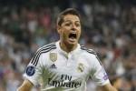 Reaksi Javier Hernandez saat berselebrasi seusai membuat gol ke gawang Atletico. JIBI/Rtr/Juan Medina