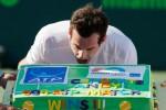 Andy Murray siap menggigit cake untuk merayakan kemenangannya ke-500 di seri ATP. JIBI/Rtr/Geoff Bur