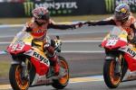 Pembalap Repsol Honda Marc Marquez dan Dani Pedrosa bertekat merebut kemenangan di MotoGP Italia. Ist/dok/Rtr