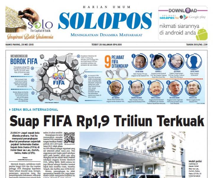 Halaman Depan Harian Umum Solopos edisi Kamis, 28 Mei 2015