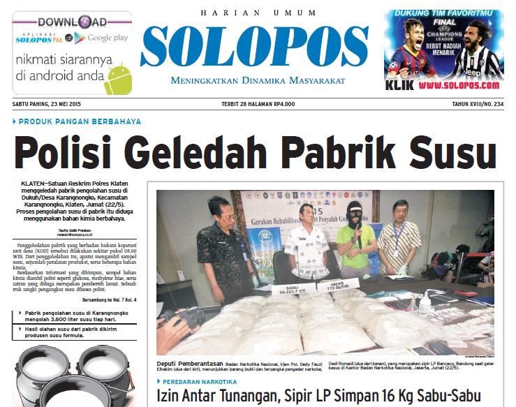 Halaman Depan Harian Umum Solopos edisi Sabtu, 23 Mei 2015