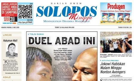 Harian Umum Solopos edisi Minggu, 3 Mei 2015