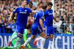 Striker Chelsea, Diego Costa merayakan gol bersama rekan satu timnya saat melawan Sunderland (Twitter.com)