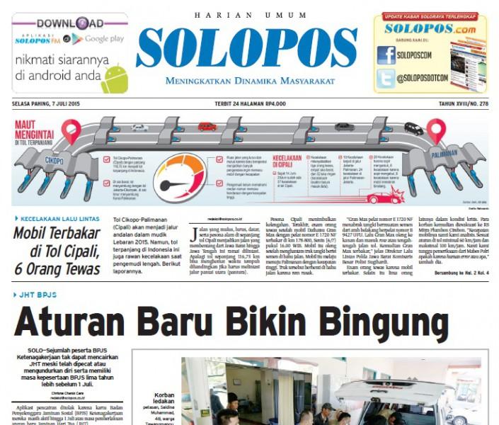 Halaman Depan Harian Umum Solopos edisi Selasa, 7 Juli 2015