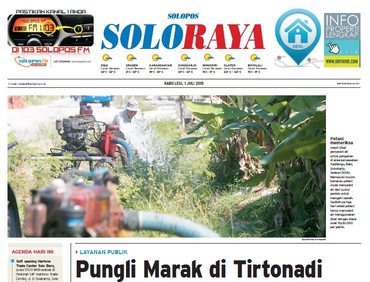 Halaman Soloraya Harian Umum Solopos edisi Rabu, 1 Juli 2015