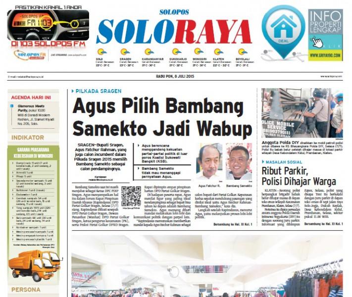 Halaman Soloraya Harian Umum Solopos edisi Rabu, 8 Juli 2015