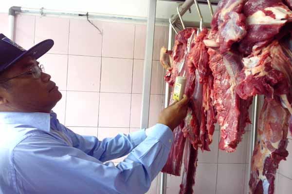 Petugas Dinas Pertanian, Peternakan, dan Kehutanan (DPPK) Sleman mengecek kadar air pada daging sapi di Pasar Pakem, Rabu (1/7/2015). (JIBI/Harian Jogja/Bernadheta Dian Saraswati)