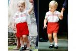 Pangeran George (kiri) saat pembaptisan adiknya, Putri Charlote mengenakan baju yang dengan ayahnya, Pangeran Williams saat masih kecil (kanan) (Istimewa/liputan6)