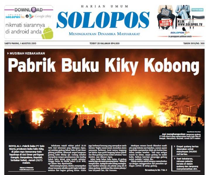 Halaman Depan Harian Umum Solopos edisi Sabtu, 1 Agustus 2015