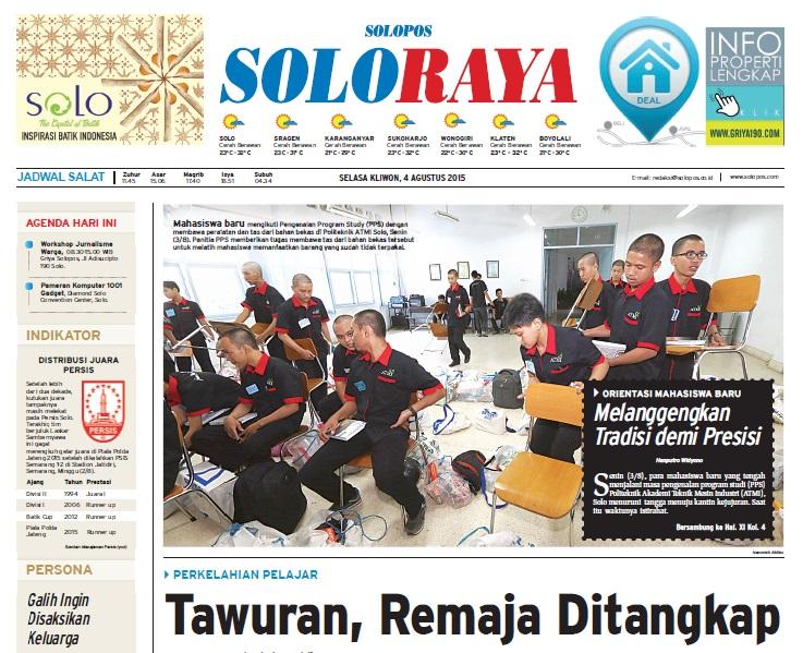 Halaman Soloraya Harian Umum Solopos edisi Selasa, 4 Agustus 2015