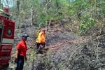 petugas berupaya memadamkan kobaran api di Gunung Gandul, Wonogiri. (Bayu Jatmiko Adi/JIBI/Solopos)