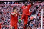 Selebrasi Christian Benteke bersama Dejan Lovren setelah mencetak gol saat Liverpool kontra Bournemouth (Sky Sports)