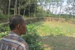Warga melihat embung di Dukuh Mundu, Mundu, Tulung, Klaten, Senin (10/8/2015). Embung tersebut dalam kondisi rusak parah sehingga tidak bisa digunakan mengairi ratusan hektare sawah di daerah Mundu. (Ponco Suseno/JIBI/Solopos)