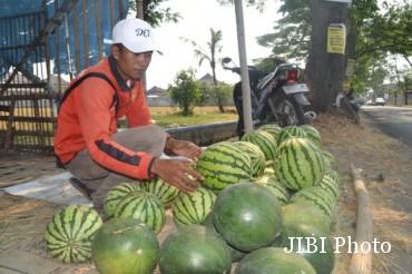 Penjual semangka, Danang, menunggu pembeli di pinggir jalan raya Baki Daleman, Sukoharjo, Sabtu (29/8/2015). (Bony Eko Wicaksono/JIBI/Solopos)