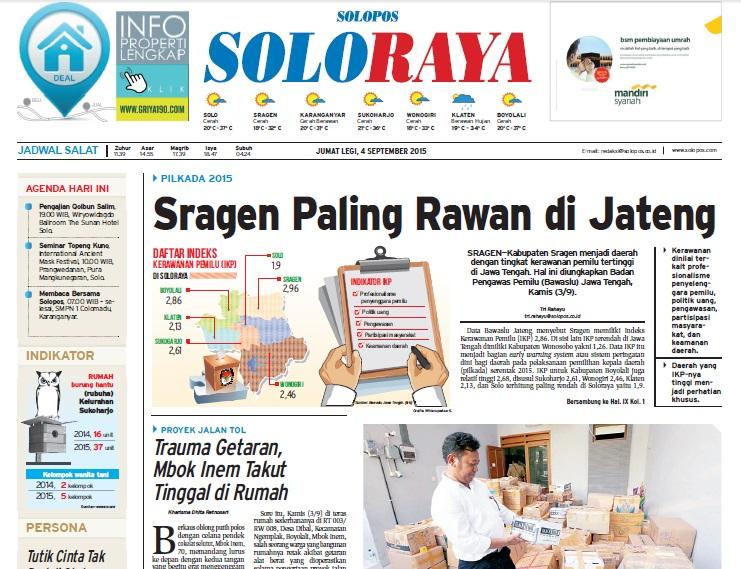 Halaman Soloraya Harian Umum Solopos edisi Jumat, 4 September 2015