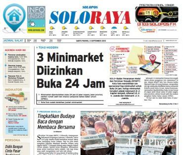 Halaman Soloraya Harian Umum Solopos edisi Sabtu, 5 September 2015