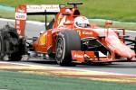 Ban mobil balap Ferrari yang dikendari Sebastian Vettel pecah saat balapan di GP Belgia, Sirkuit Spa-Francorchamps, dua pekan lalu. Ist/skysport.com