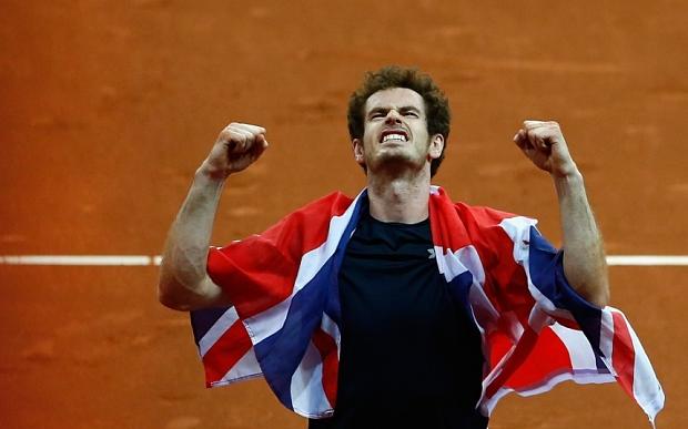 Andy Murray merayakan kemenangan Britani Raya dalam ajang Davis Cup 2015 (Telegraph)