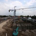 Aktivitas pekerja menyelesaikan pembangunan tahap I Pasar Klewer di Jl. dr. Radjiman, Solo, Sabtu (21/11/2015). (Ivanovich Aldino/JIBI/Solopos)