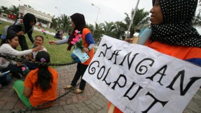 Kampanye antigolput Forum Masyarakat Cinta Damai (Formacida) Jawa Timur di Kediri, Minggu (6/12/2015). (JIBI/Solopos/Antara/Prasetia Fauzani)
