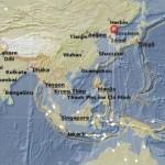 Titik-titik putih menunjukkan lokasi yang terkena getaran gempa akibat uji coba nuklir Korea Utara, Rabu (6/1/2016) (BMKG)