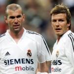 Zidane dan Beckham saat bermain bersama di real Madrid (Mirror)