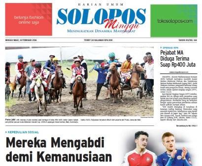 Halaman Depan Harian Umum Solopos edisi Minggu, 14 Februari 2016