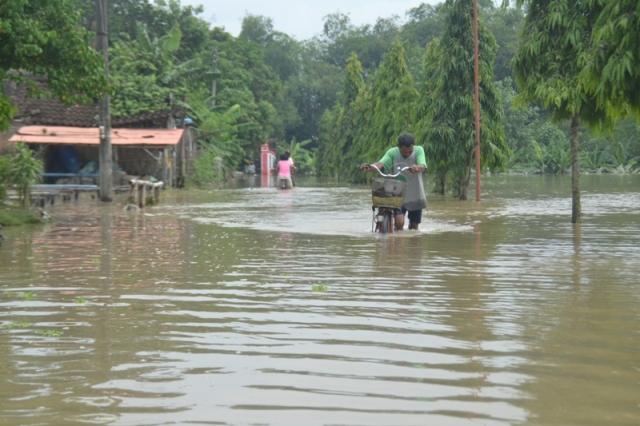 Pelajar berjalan kaki melewati jalan perkampungan di Dusun Kesongo, Desa Tegalmade, Kecamatan Mojolaban yang tergenang air akibat luapan air Sungai Bengawan Solo, Kamis (11/2/2016). Sementara warga lainnya terpaksa menuntun sepeda lantaran tingginya genangan air yang merendam jalan perkampungan. (Bony Eko Wicaksono/JIBI/Solopos)