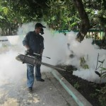Petugas dari Dinas Kesehatan Kabupaten (DKK) Karanganyar melakukan fogging ke rumah-rumah warga di Desa Gajahan, Kecamatan Colomadu, Karanganyar, Senin (28/3/2016). (Iskandar/JIBI/Solopos)