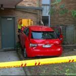 Mobil Audi merah yang menabrak panti jompo di Renwick Street, Sydney, Agustus 2015 lalu. (Istimewa/9news.com.au)
