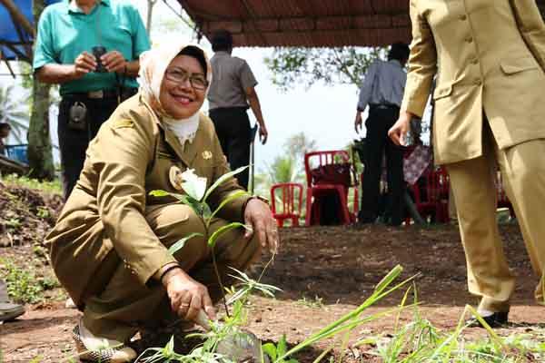 Wakil Bupati Sleman Sri Muslimatun saat melaksanakan Program Penyelamatan Mata Air, Daerah Aliran Sungai (DAS) di Desa Wonokerto Turi, Selasa (22/3/2016). (JIBI/Harian Jogja/IST)