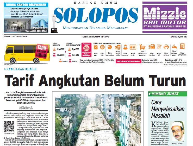Halaman Depan Harian Umum Solopos edisi Jumat, 1 April 2016
