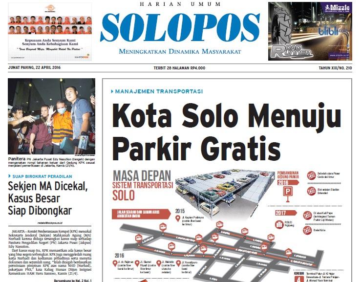 Halaman Depan Harian Umum Solopos edisi Jumat, 22 April 2016