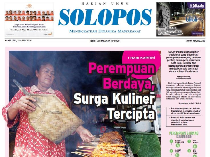 Halaman Depan Harian Umum Solopos edisi Kamis, 21 April 2016