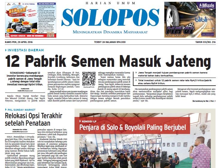 Halaman Depan Harian Umum Solopos edisi Kamis, 28 April 2016