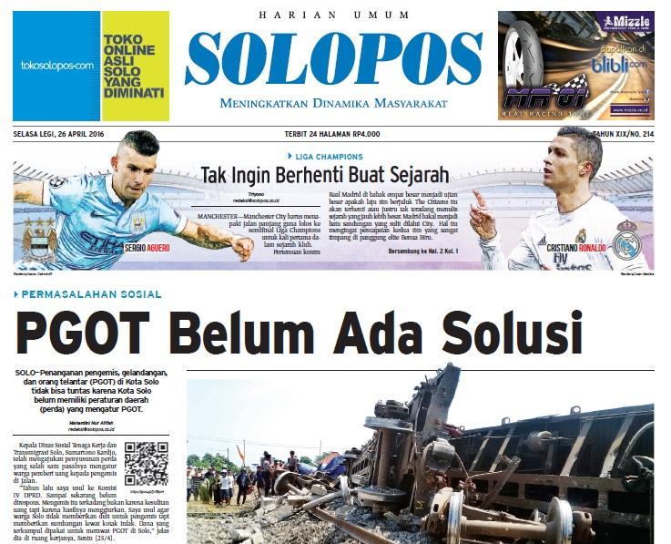 Halaman Depan Harian Umum Solopos edisi Selasa, 26 April 2016