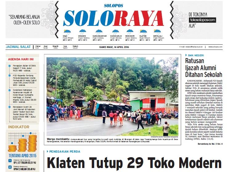 Halaman Soloraya Harian Umum Solopos edisi Kamis, 14 April 2016