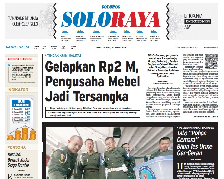Halaman Soloraya Harian Umum Solopos edisi Rabu, 27 April 2016