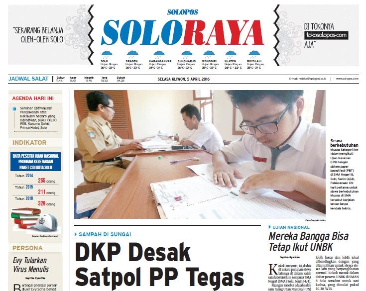 Halaman Soloraya Harian Umum Solopos edisi Selaa, 5 April 2016