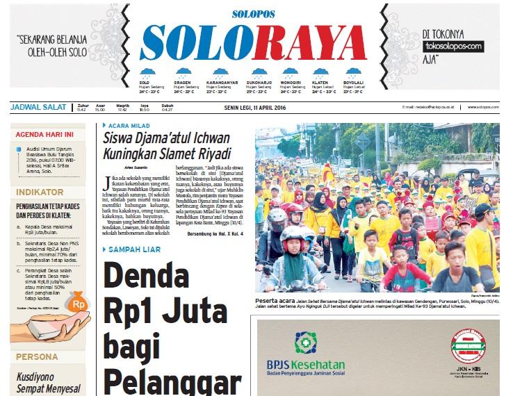 Halaman Soloraya Harian Umum Solopos edisi Senin, 11 April 2016