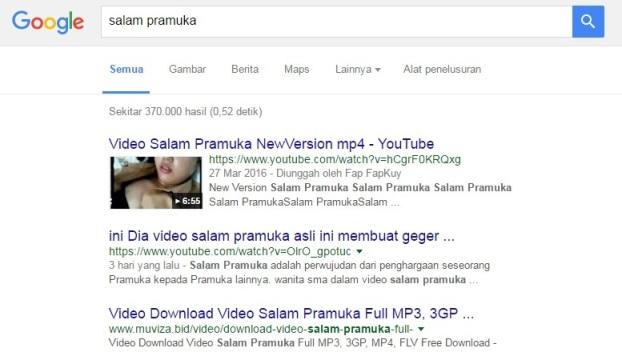 Hasil pencarian Salam Pramuka di Google. (Google.com)