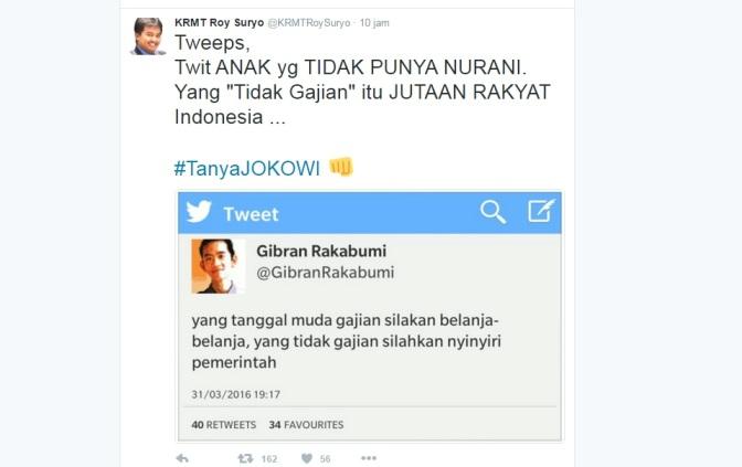 Kicauan Roy Suryo (Twitter)